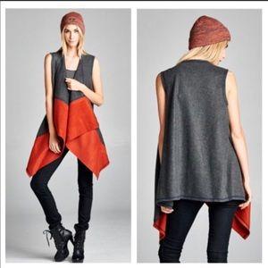 Colorblock Open Rust & Charcoal Fleece Vest